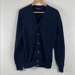 Ben Sherman Navy Blue Cotton Cardigan Size Medium